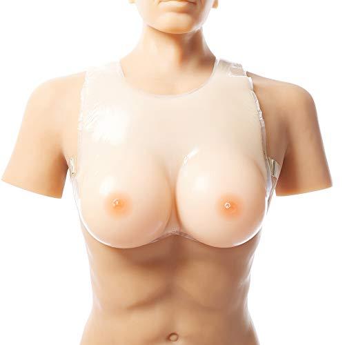 Travesti Formas artificiales de mama del pecho falso, 100% de silicona médica prótesis mamaria con hendidura atractiva, adecuados para cosplay, Transexual, resección de mama de pacientes,Skintone,XL