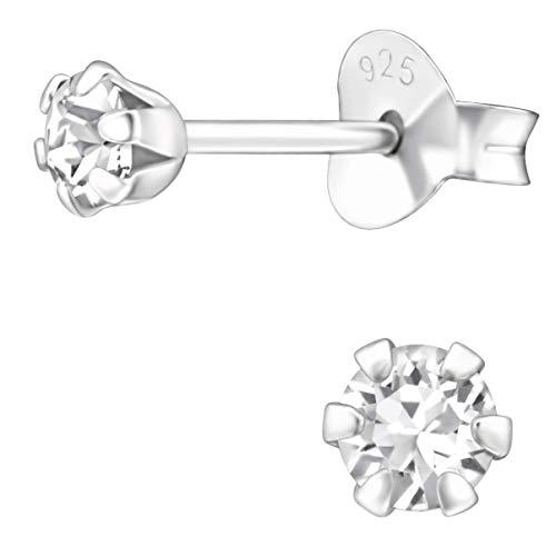 JAYARE Pendientes de niña redondos de plata de ley 925 de 3 mm con cristales Swarovski Elements brillantes y cristal
