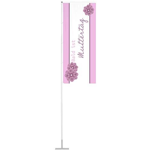 Vispronet Flagge 120x300 cm Muttertag ✓ für mobilen Fahnenmast T-Pole 100 & 200 ✓ Mastseite (Links) mit Ösen