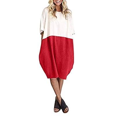 Star_wuvi Women's Summer Loose Linen Mini Dress Casual Color Block Beach Holiday Pocket Sundress