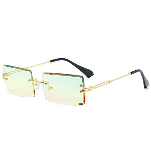 LDH Gafas de Sol para Mujer Rectángulo Rimnase Gradiente Gafas De Sol Mujeres Hombres Sombras Pequeñas Moda Gafas De Sol para Hombres Retro Gafas (Color : G)