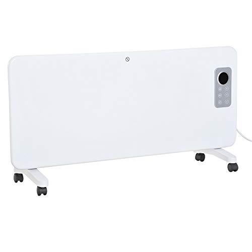 Radiateur électrique avec thermostat + télécommande chauffage panneau rayonnant mobile sur roulettes écran LED minuterie 1000/2000 W max. acier blanc