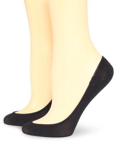 Hue Women's 2 Pair Pack Ultra Low Cut No Show Liner Sock, Black, Medium/Large