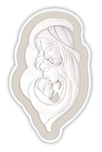 MAZZOLA LUCE capezzale Moderno Sacra Famiglia Quadro per Camera da Letto Bianco Nocciola Made in Italy