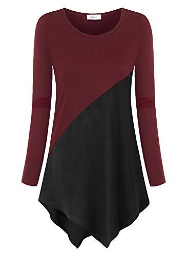 Amrto Damen Langarm Tunika Asymmetrisch Farbblock T-Shirt Bluse Rundhals Longshirt Casual Oberteile Tops, Wein-Schwarz XXXL