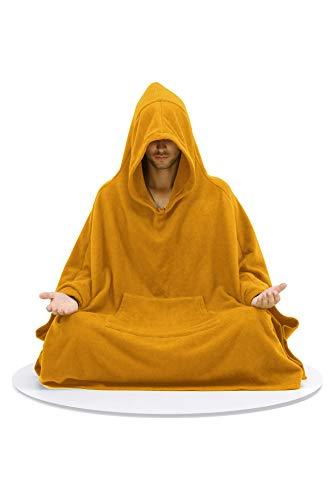 Live Up Capa de meditación - Abrigo con Capucha - Relajación Budista de Yoga Unisex Hombres Mujeres (Naranja, L)