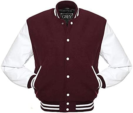 GREY Brand Varsity Jacket, Wool Body with Leather Arms Letterman Baseball Unique & Stylish (7XL) (5XL, Maroon-White)
