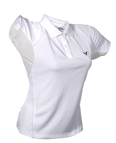 VICTOR Damen Polohemd White 6030, weiß/grau, XL