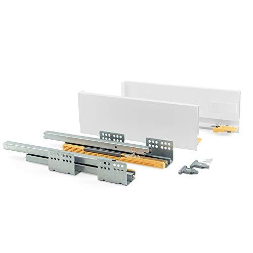 Emuca - Kit de cajón para Cocina o baño con guias de extracción Total y Cierre Suave, Altura 105 mm y Profundidad 450 mm, Gris Antracita