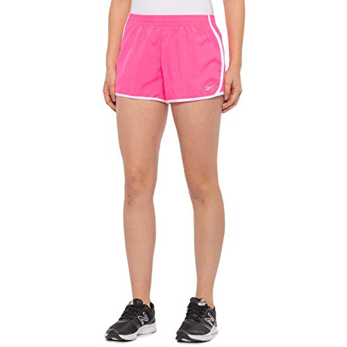 Reebok Women's Athletic Workout Shorts - Gym Training & Running Short - 3 Inch Inseam -Neon Knockout Pink, Large