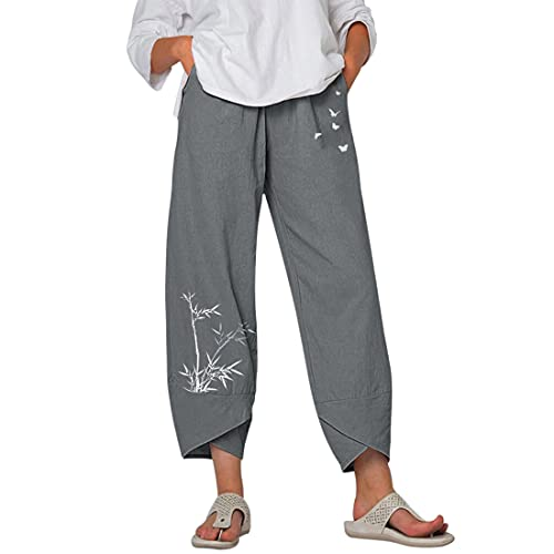 Shujin Pantalones de verano para mujer, estilo bohemio, 7/8, estampado de bambú, corte cómodo, cintura alta, pantalones de yoga, pantalones con pernera ancha, tallas grandes, gris, XL