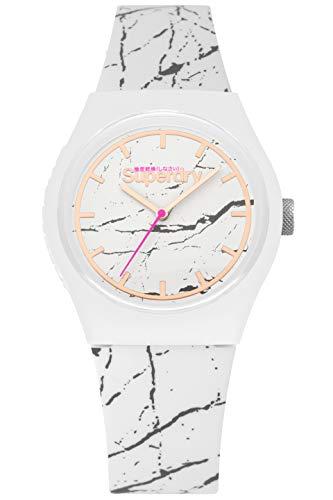 Superdry Reloj Analógico para Mujer de Cuarzo con Correa en Silicona SYL253WE
