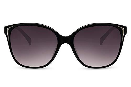 Cheapass Sunglasses - Gafas de sol clásicas y elegantes con estilo mariposa negra con lentes degradados oscuros para mujeres con protección UV400