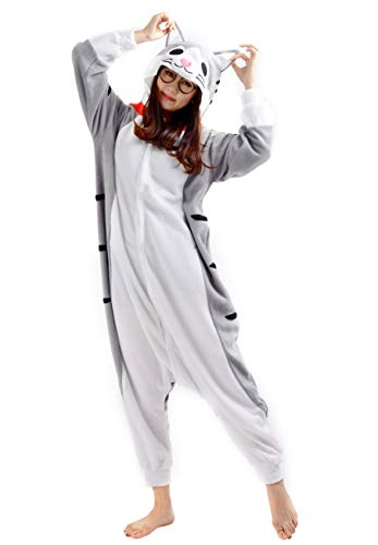 SAMGU Tier Onesie Pyjama Cosplay Kostüme Schlafanzug Erwachsene Unisex Animal Tieroutfit tierkostüme Jumpsuit Käse Katze(Größe S)