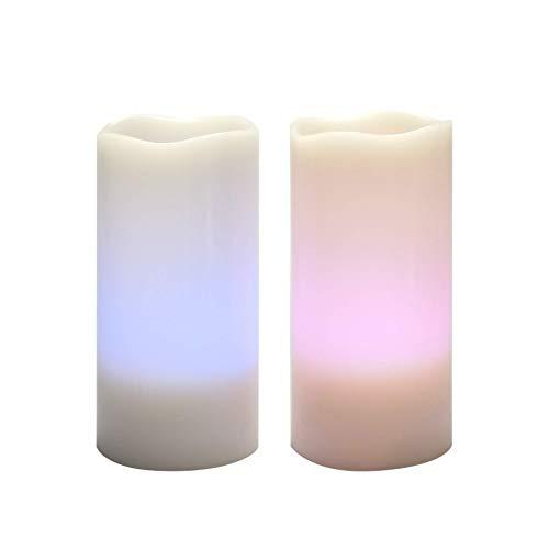 Velas sin llama que cambian de color con temporizador remoto de cera real, parpadeo realista, electrónico, multicolor, luces LED pilares para el hogar, bodas, decoraciones navideñas, 2 unidades