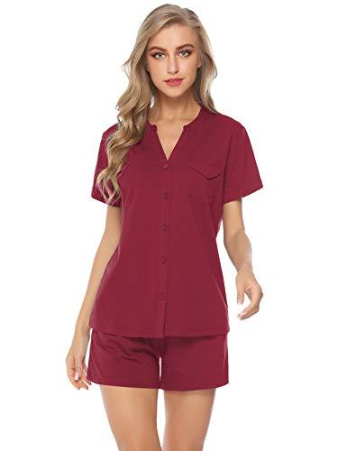 iClosam Pijama Mujer Verano Corto Algodon Set,Pijamas Botones Casual,Camiseta y Pantalones Suave y Comodo, Ropa para Dormir 2 Piezas S-XL