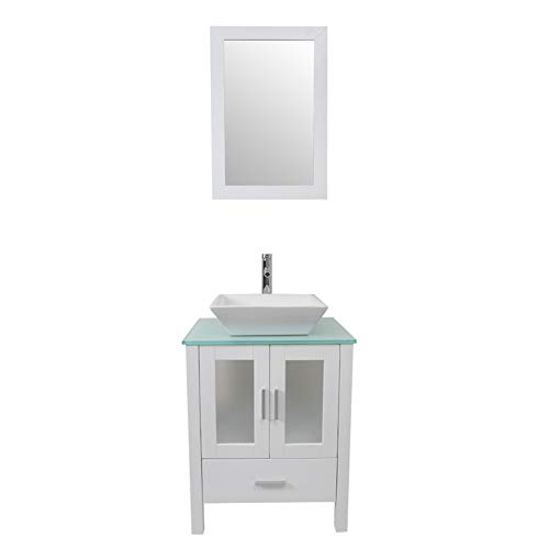 Tonyrena 24 inch Bathroom Vanity in White with Mirror and Tempered Glass Countertop,Include White Square Vessel Sink Set