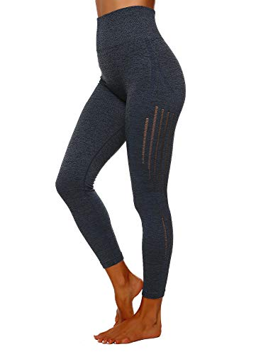 FITTOO Damen Power Flex Yoga Hosen Training Laufende Leggings Active Leggings Slimming Seamless Pants Design 3 - Dunkelblau S