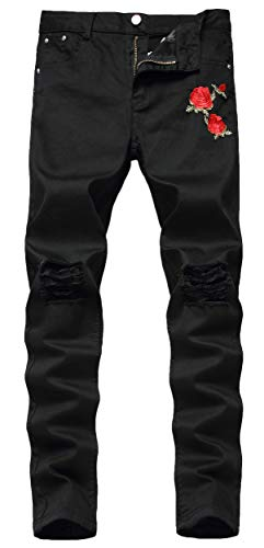 Qazel Vorrlon Men's Biker Jeans Ripped Black Jeans Floral Destroyed Ripped Skinny Denim Jeans Size 28,Q036