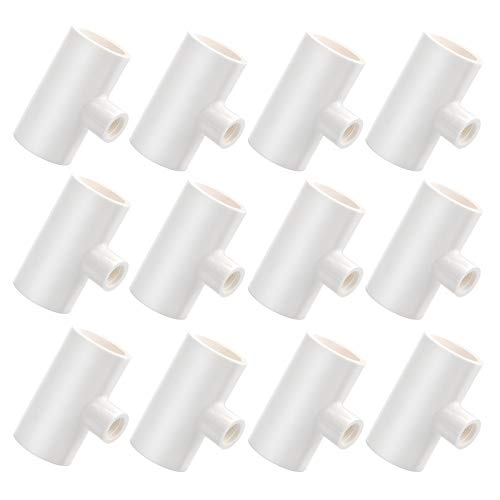 Hermia 12 Pack PVC Tee Fittings, Fully Automatic Poultry Waterer PVC Fittings for Threaded Poultry Nipples/Poultry Cups/Chicken Waterer - Sch40 PVC 1/2 inch Slip X 1/2 inch Slip X 1/8 inch FPT
