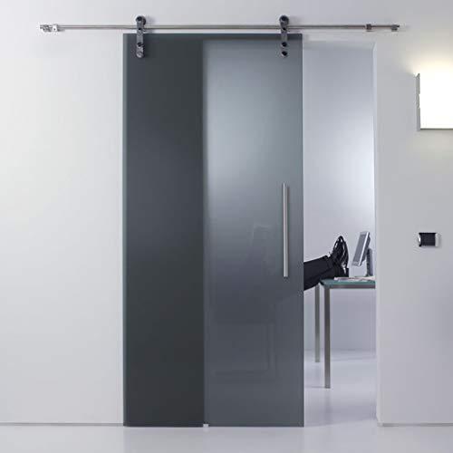 GWXFHT Schiebetürbeschlag Set Glastür-Edelstahl-Aufhängeschienen-Hardware-Kit (5ft-13ft), Schiebetürschiene, Doppelwellenstummschaltung mit Dämpfungsrolle (Size : 5ft/150cm Single Door kit)