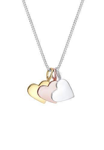 Elli Halskette Elli Damen Halskette Tri-Color Herz Anhänger Liebe Infinity in 925 Sterling Silber