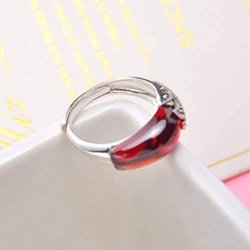 S925 Sterling Silber Ring Vintage Eingelegter Chalcedon Schwarzer Onyx Granat Ring Drücken und Ziehen, lwp, Guave, Öffnung einstellbar