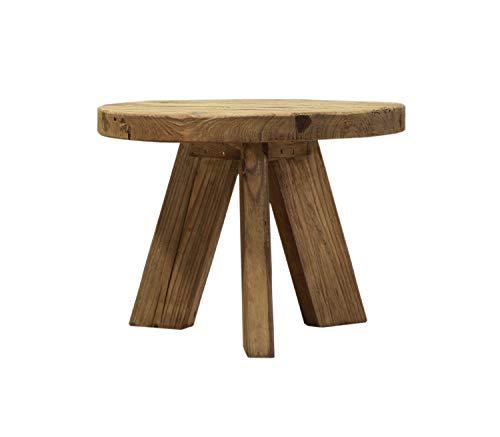 Meubletmoi Table Basse Ronde 60 cm en pin recyclé - Style Esprit Montagne Rustique - Collection Chalet