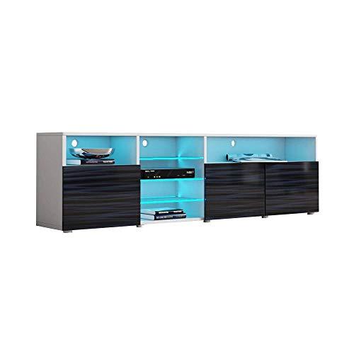 MEBLE FURNITURE & RUGS TV Stand Roma Matte Body High Gloss Doors Modern TV Stand LED (White/WavyBlack)