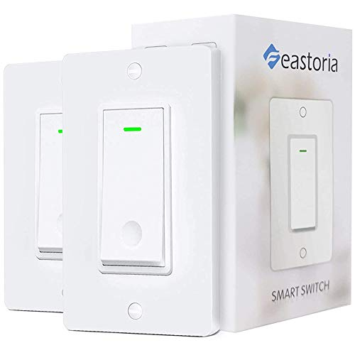 Feastoria Smart Light Switch 24GHz WiFi Light Switch Works with Google Home and Amazon Alexa Remote Control/Voice Control Single Pole Neutral Wire Required 2 Pack