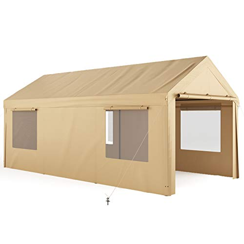 Carport, QOMOTOP 10x20ft Heavy Duty Carport with Removable Sidewalls & Doors, Portable Garage for Auto, Boat & Market stall, Car Tent with Windows, Car Canopy for Party & Wedding, UV-Resistant Tarp