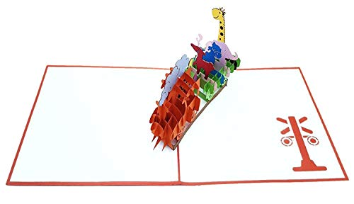 3D Geburtstagskarte – Dampflok Karte für Kinder: Eisenbahn mit bunten Tieren – Handgefertigte Klappkarte mit Umschlag, Pop-Up 3D-Karte zum Geburtstag - 4