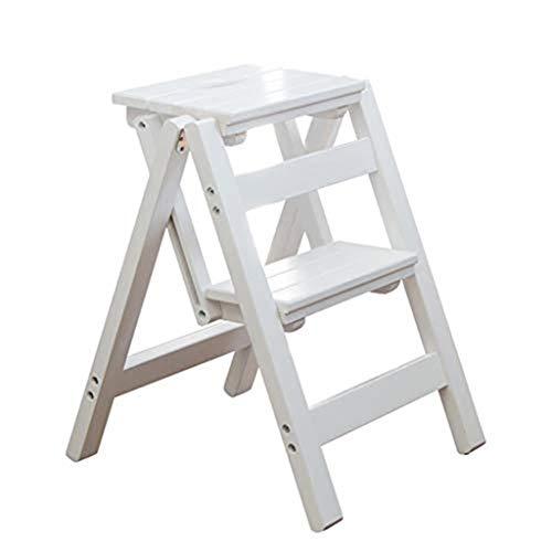 Escalera Banqueta / Taburete plegable Escalera, hogar de escalera portátil de madera sólida taburete de paso for niños y adultos, Hogar Jardín Herramienta for trabajo pesado Max.200 kg, blanca /Escale