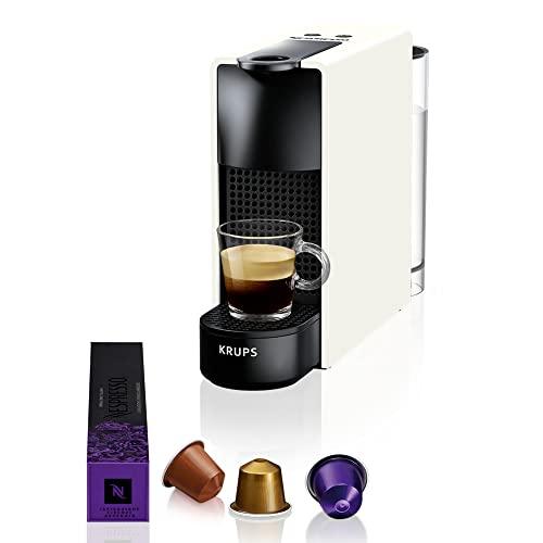 Krups Cafetière à capsules Nespresso Essenza Mini (1260 watt, technologie de chauffe Thermoblock, 0,7 litre, 19 bar) sans mousseur à lait Weiß
