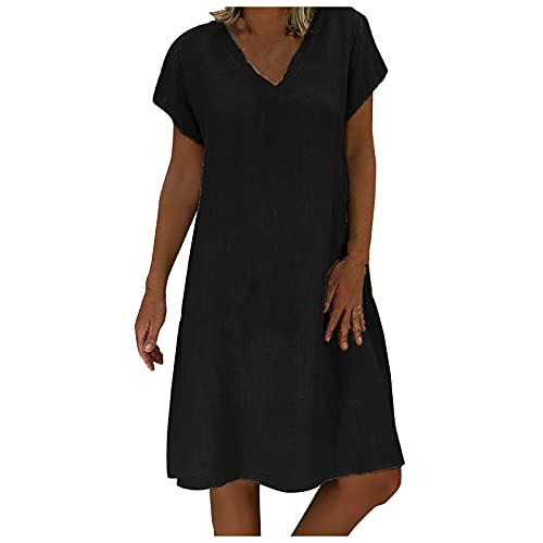 FOTBIMK Vestido de verano suelto de color sólido de manga corta con cuello en V una línea de vestido vintage sin accesorios