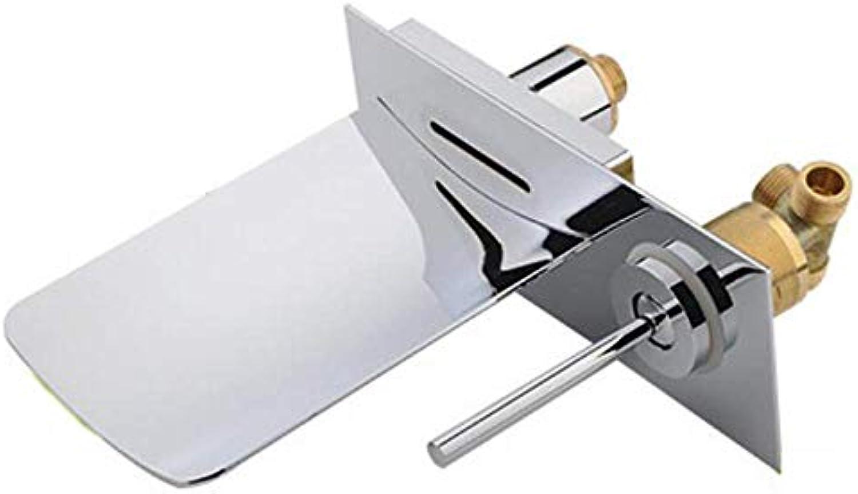 Chrom 2-Loch Unterputz-LED-Wachtisch-Einhebelmischer zur Wandmontage mit Glasauslauf aus Messing von