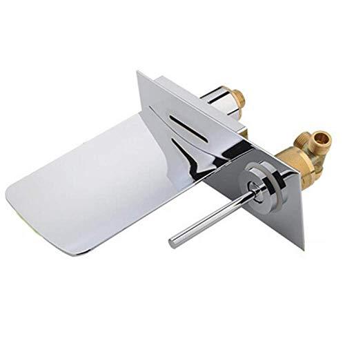 Grifo monomando de lavabo con cascada LED de 2 orificios montado en cromo Grifo monomando monomando de pared con caño de vidrio de latón