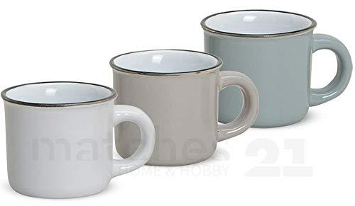 matches21 Espressotasse Emaille-Optik Espressobecher Email-Optik 1 Stk. B-WARE weiß braun ODER grau je 6,5 cm / 120 ml
