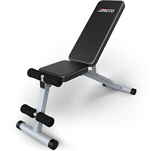 JOROTO Adjustable Weight Bench Multipurepose Foldable Bench Exercise Bench Workout Bench for Full Body Home Gym Grey