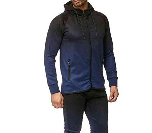 RYDRQF Sweat-Shirt pour Homme avec Fermeture éclair sur Les côtés et Manches avec Motif dégradé XL Bleu Marine