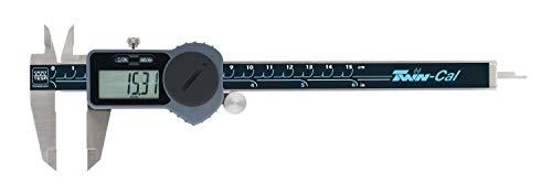 TESA TWIN-CAL IP40 - Calibre eléctrico estándar (rango de medición, 0-150 mm, con rodillo de ajuste, salida de datos y barra de profundidad redonda)