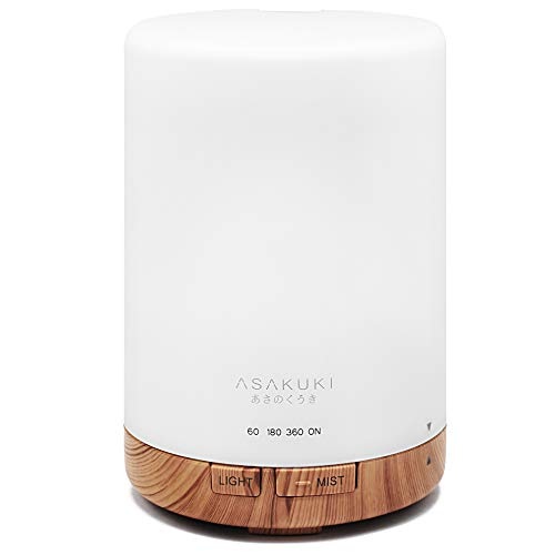 ASAKUKI 300ML Essential Oil Diffuser, Quiet 5-in-1 Premium Humidifier, Natural Home Fragrance Aroma Diffuser with 7 LED Color Changing Light and Auto-Off Safety Switch