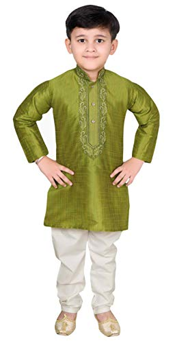 Desi Sarees Indio Chicos Kurta Pijama Shalwar Kameez Pre-Boda 960 (12 años, Musgo Verde)