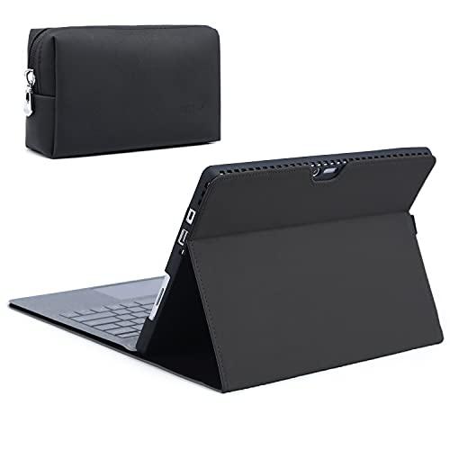 HYZUO Funda para Surface Pro 7/Pro 6/Pro 5 2017/Pro 4 con soporte para lápiz capacitivo para Surface Pro 6/5/4 con cremallera, compatible con teclado tipo cubierta, color negro (piel de microfibra)