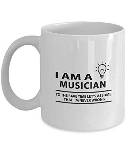 N\A Gag Birthday, Taza de Trabajo para Eventos Especiales - Soy MÚSICO - Taza de café con Cita Divertida para MÚSICO en cumpleaños - Tazas de café Blancas Resistentes al Calor