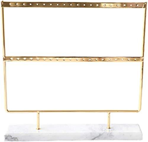 ZXCVB Półka do przechowywania biżuterii w łańcuchu, podwójny szaf do przechowywania z blatem marmurowym do wiszących kolczyków, 3 kolory (kolor: biały, rozmiar: 25x25x5cm)