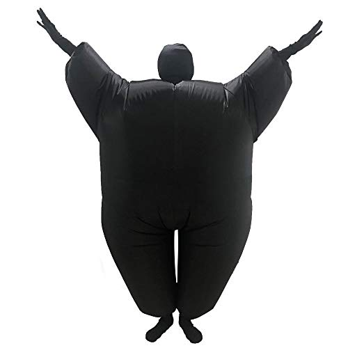 Inflatable Fancy Chub Fat Masked Suit Dress Blow Up Halloween Party Costume (Black)