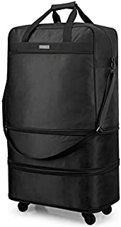 Hanke Expandable Foldable Suitcase Luggage Rolling Travel Bag Duffel Garment Tote Bag for Men Women Lightweight Carry-on Suitcase Large Capacity Luggage with Universal Wheel(Black)