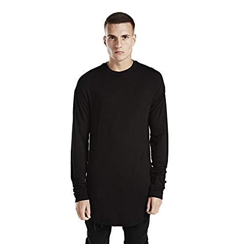 Camiseta de manga larga para hombre de algodón puro con dobladillo redondo