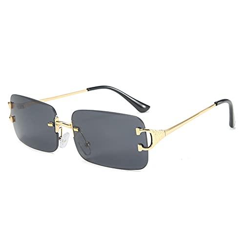 Moda vanguardista gafas de sol de las mujeres personalidad pequeño marco gafas calle moda moda gafas de sol, Gold Frame Black and Gray Film C1,